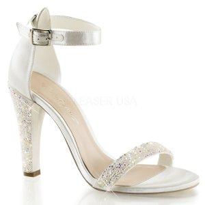 bílé luxusní saténové sandálky Clearly-436-ivsa