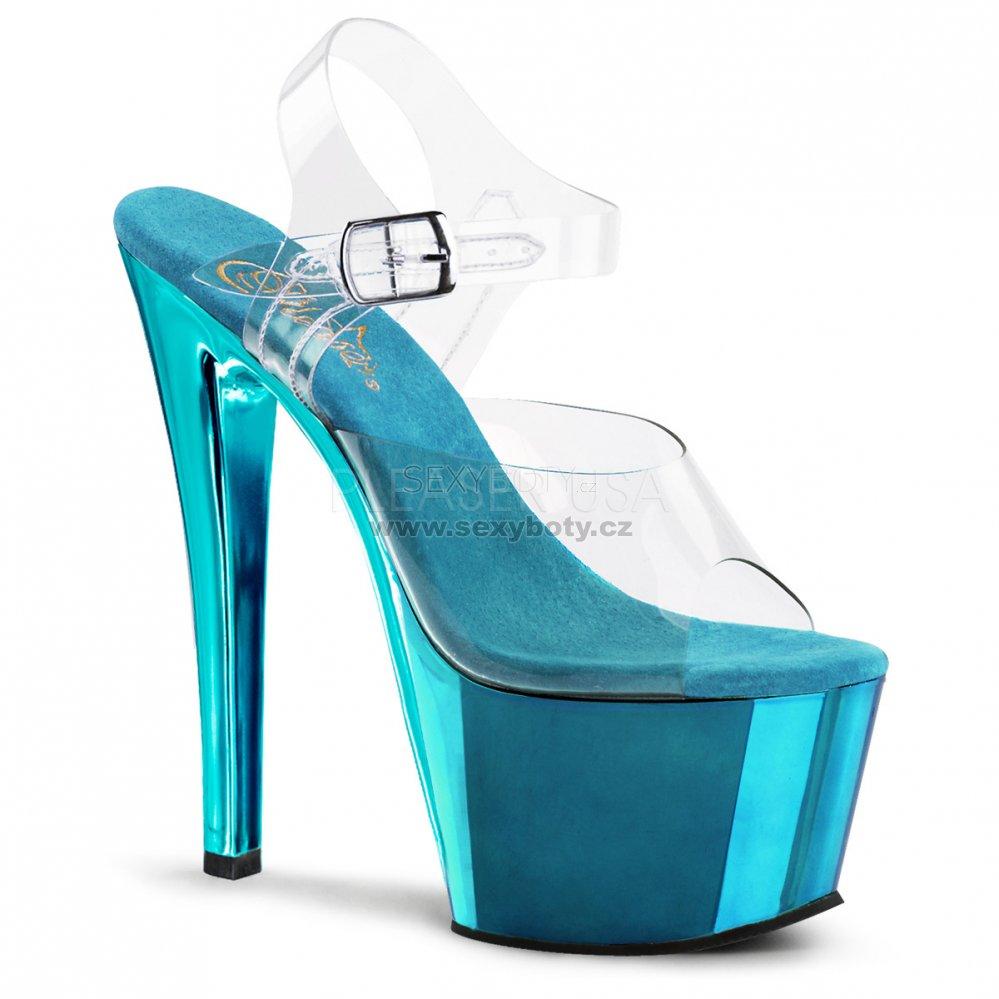 tyrkysově modré vysoké boty na podpatku Sky-308-ctech - Velikost 43 ... d67af7d2d3