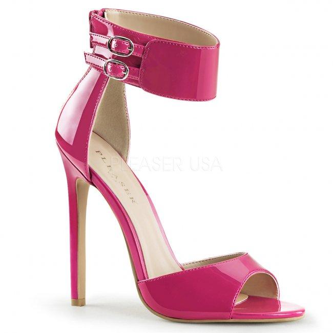 růžové sandálky na jehlovém podpatku Sexy-19-fs - Velikost 36