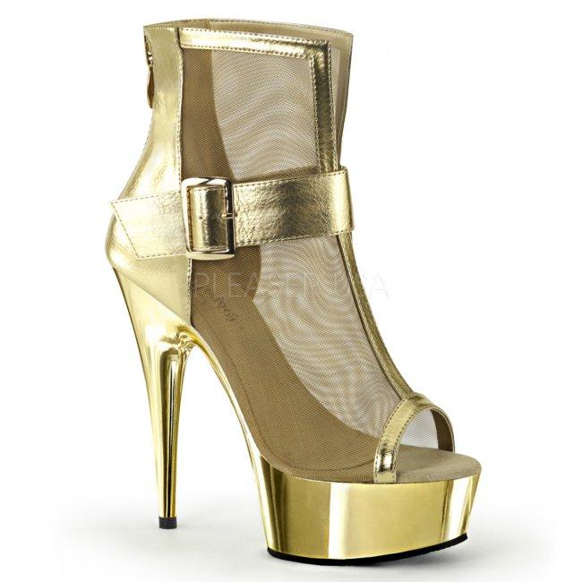 zlaté kotníkové kozačky Delight-600-23-gmpu - Velikost 35
