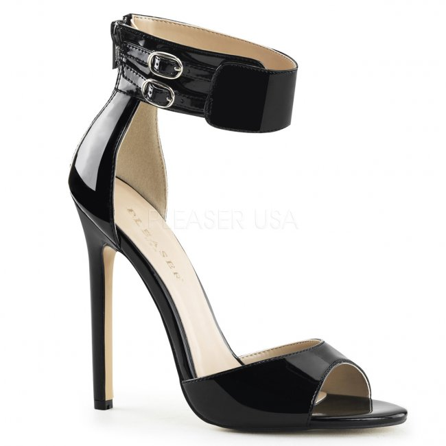 černé sandálky na jehlovém podpatku Sexy-19-b - Velikost 44