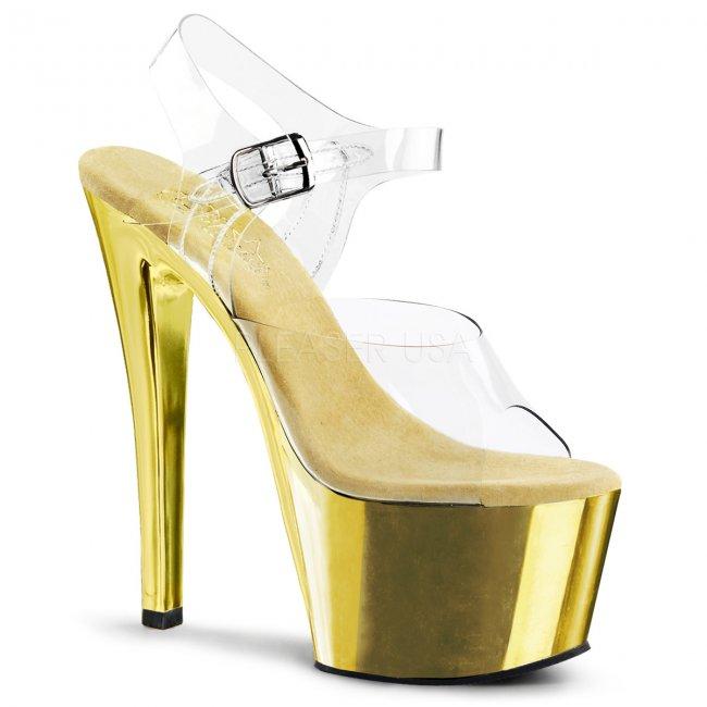 zlaté vysoké boty na podpatku Sky-308-cgch - Velikost 39