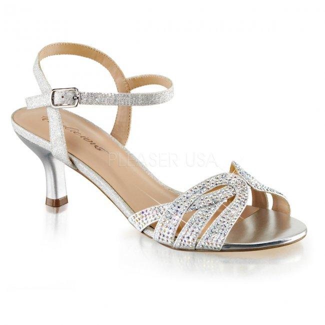stříbrné dámské společenské sandálky Audrey-03-sfa - Velikost 41