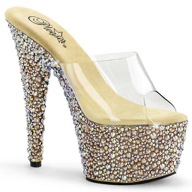 zlaté boty na podpatku s kamínky Bejeweled-701ms-cgrs - Velikost 38