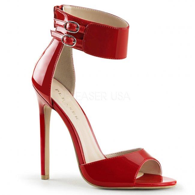 červené sandálky na jehlovém podpatku Sexy-19-r - Velikost 36