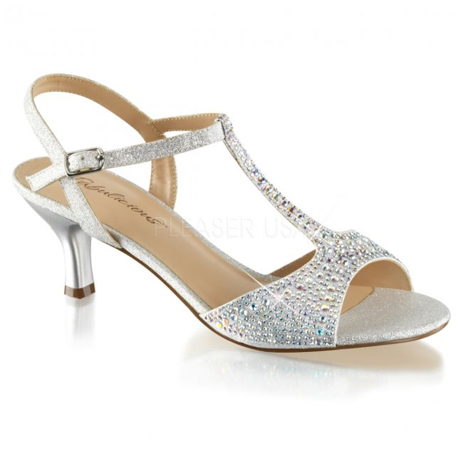 dámské společenské stříbrné sandálky Audrey-05-sfa - Velikost 36