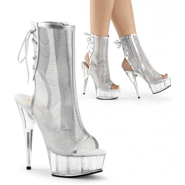 stříbrné kotníkové kozačky Delight-1018msh-sc - Velikost 36