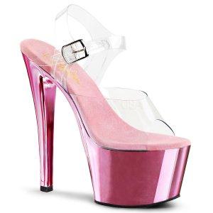 růžové vysoké boty na podpatku Sky-308-cbpch
