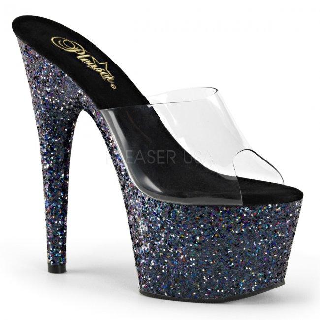 černé pantofle s holografickým efektem Adore-701lg-cbg - Velikost 36