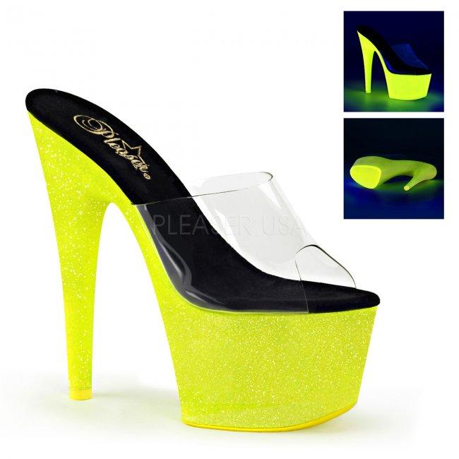 žluté pantofle s UV efektem na platformě Adore-701uvg-cnylg - Velikost 39