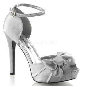 stříbrné saténové sandálky Lumina-36-ssa