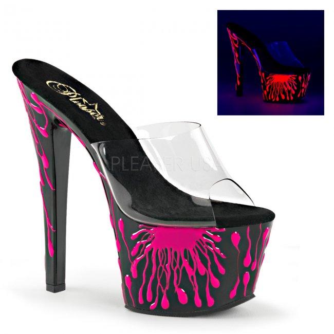 vysoké dámské UV pantofle na platformě Sky-301-5-cbnhp - Velikost 40