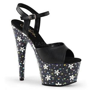 vysoké černé sandály s kamínky Starbloom-709-bvl