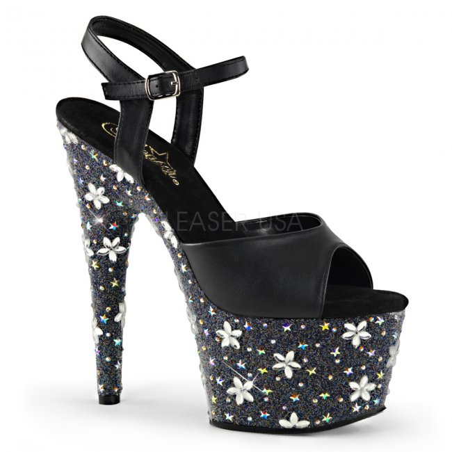 vysoké černé sandály s kamínky Starbloom-709-bvl - Velikost 37