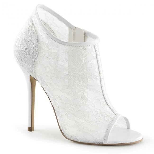 bílé dámské krajkové sandálky Amuse-56-ivlc - Velikost 42