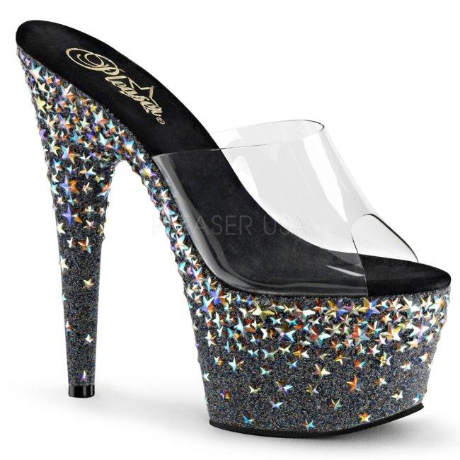 vysoké černé pantofle s hvězdičkami Starsplash-701-cb - Velikost 38