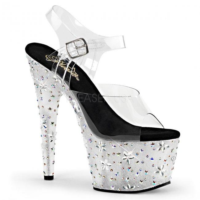 luxusní vysoké sandále s kamínky Starbloom-708-c - Velikost 38