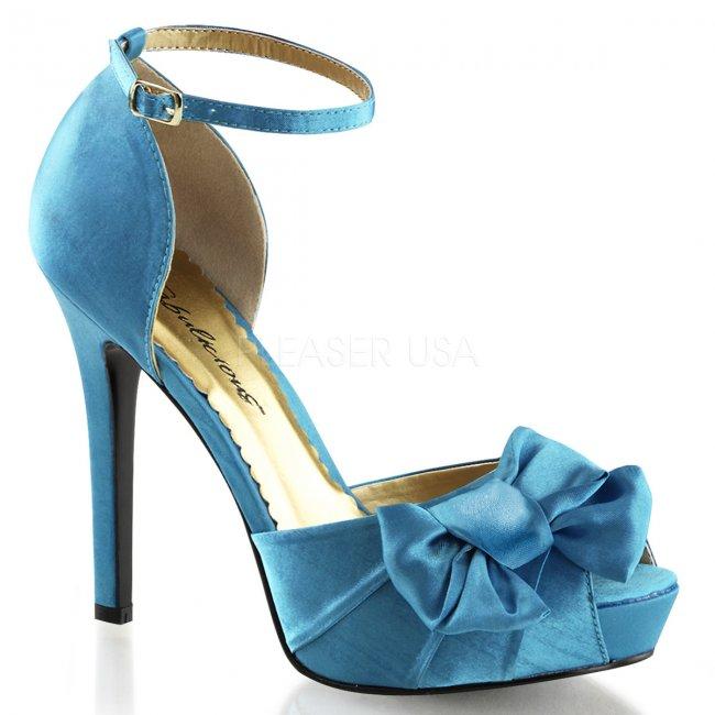 modré saténové sandálky Lumina-36-blusa - Velikost 35
