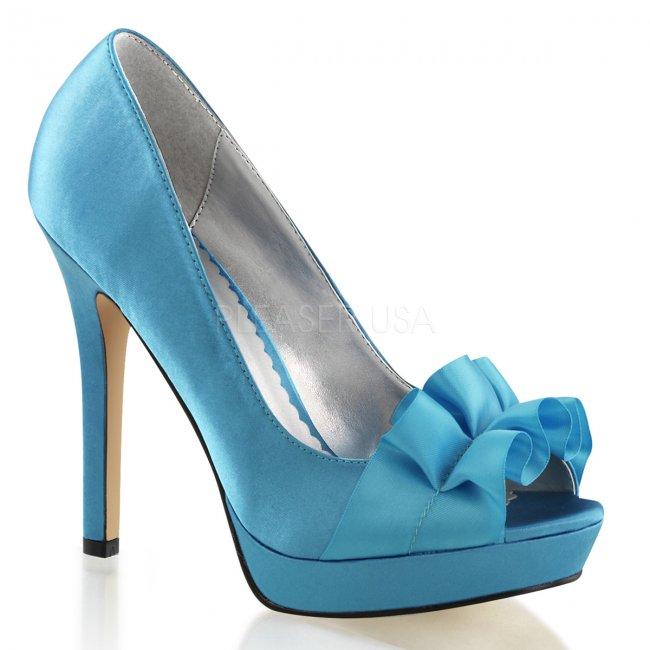 modré dámské saténové lodičky Lumina-42-blusa - Velikost 35