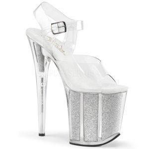stříbrné boty na extra vysokém podpatku Flamingo-808g-cs