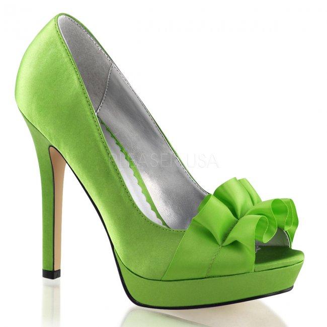 dámské zelené saténové lodičky Lumina-42-apgnsa - Velikost 36