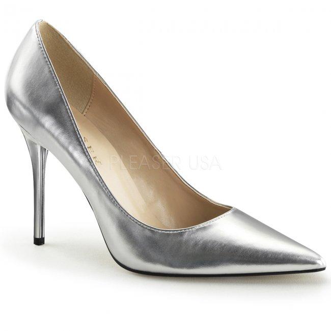 stříbrné dámské lodičky Classique-20-smpu - Velikost 46