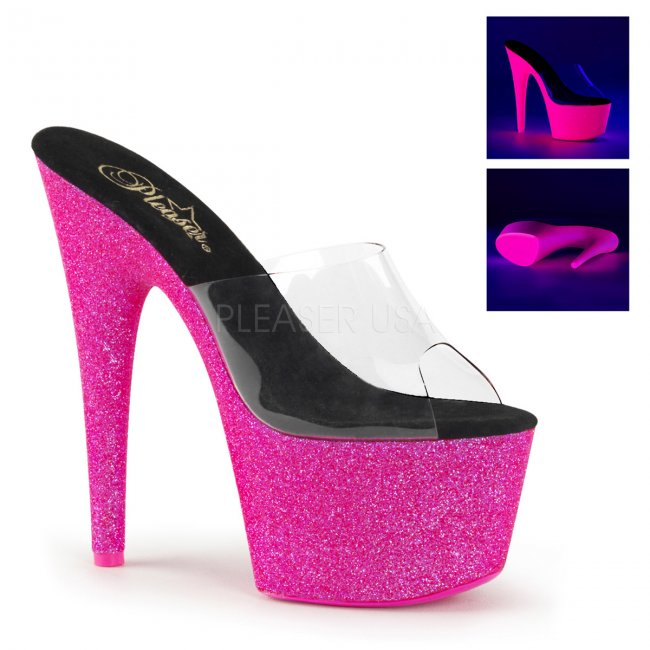 růžové pantofle s UV efektem na platformě Adore-701uvg-cnhpg - Velikost 40