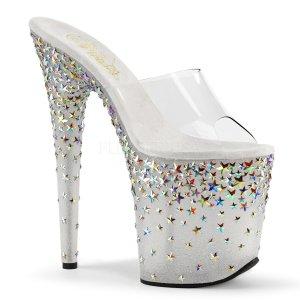 extra vysoké stříbrné pantofle s hvězdičkami Starsplash-801-cft