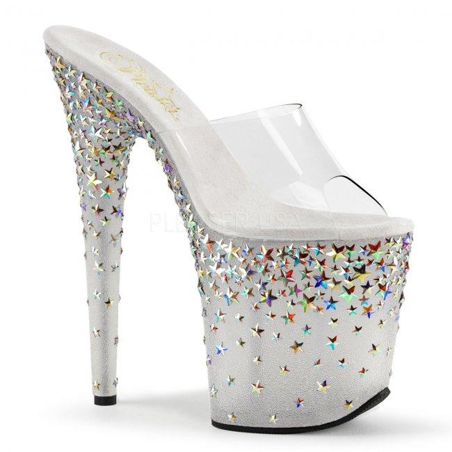 extra vysoké stříbrné pantofle s hvězdičkami Starsplash-801-cft - Velikost 36