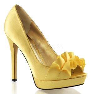 žluté saténové lodičky Lumina-42-ylsa