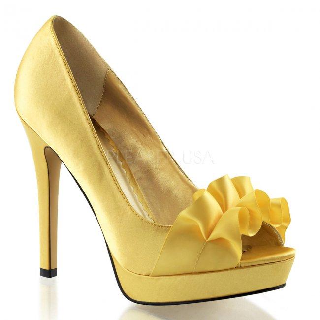 žluté saténové lodičky Lumina-42-ylsa - Velikost 36