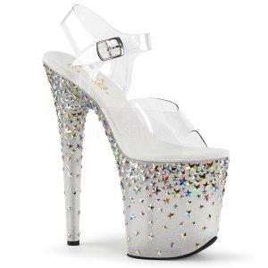 extra vysoké stříbrné sandálky s hvězdičkami Starsplash-808-cft
