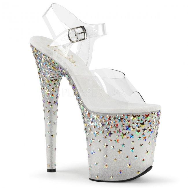 extra vysoké stříbrné sandálky s hvězdičkami Starsplash-808-cft - Velikost 36