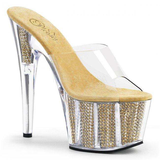 zlaté pantofle s kamínky v platformě Adore-701srs-cg - Velikost 35