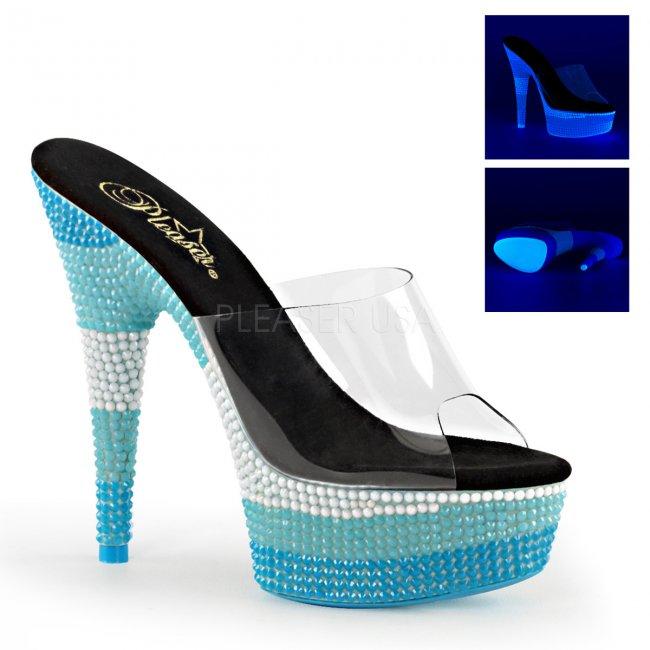 pantofle s UV efektem na platformě Delight-601uvs-cnmcbl - Velikost 36