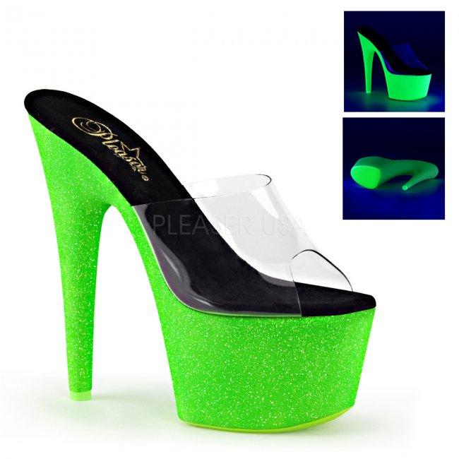 zelené pantofle s UV efektem na platformě Adore-701uvg-cngng - Velikost 37