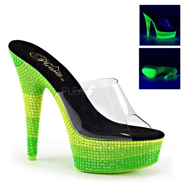 pantofle s UV efektem na platformě Delight-601uvs-cnmcgn - Velikost 36