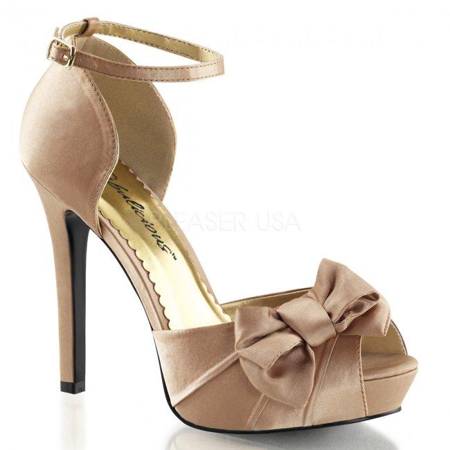 béžové saténové sandálky Lumina-36-bhsa - Velikost 39