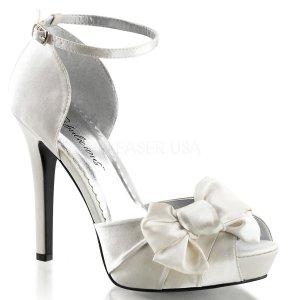 bílé saténové sandálky Lumina-36-ivsa