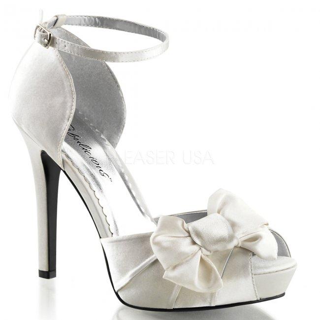bílé saténové sandálky Lumina-36-ivsa - Velikost 39