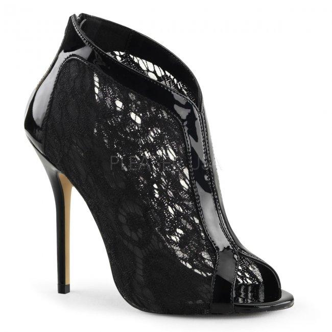 černé dámské krajkové sandálky Amuse-48-b - Velikost 39
