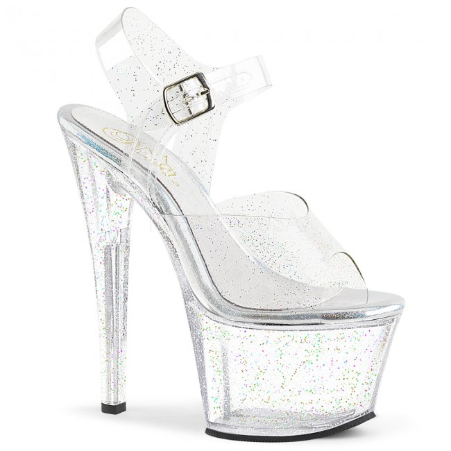 vysoké dámské sandály s glitry Sky-308mmg-c - Velikost 42