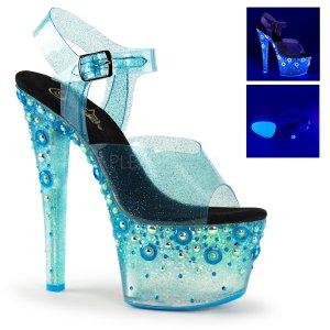 vysoké modré UV dámské sandály s glitry Sky-308uvmg-blt