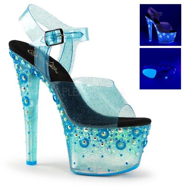 vysoké modré UV dámské sandály s glitry Sky-308uvmg-blt - Velikost 40