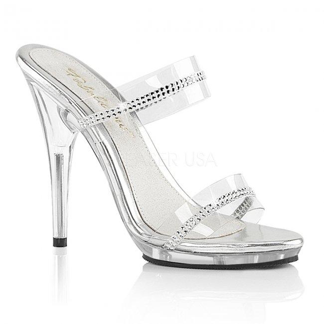 průhledné dámské dvoupáskové pantofle Poise-502r-c - Velikost 39