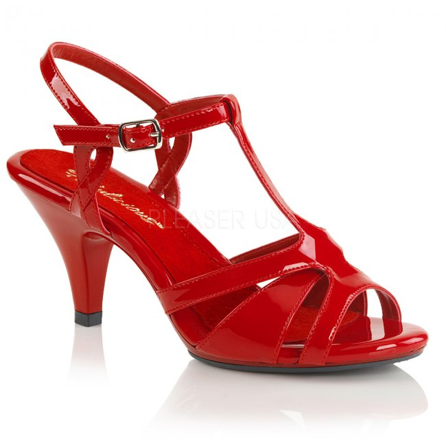 červené páskové sandálky Belle-322-r - Velikost 39