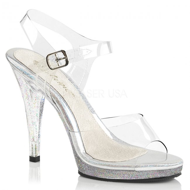stříbrné dámské páskové sandálky Flair-408mg-c - Velikost 43