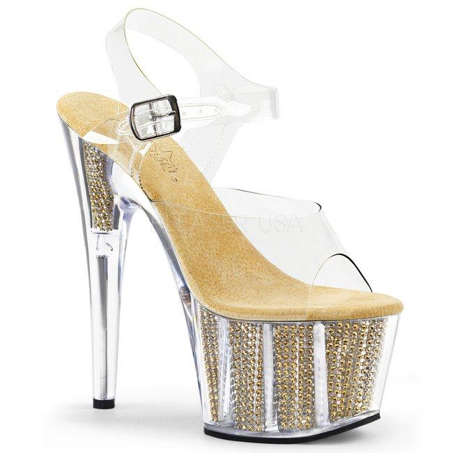 zlaté sandály s kamínky v platformě Adore-708srs-cg - Velikost 39