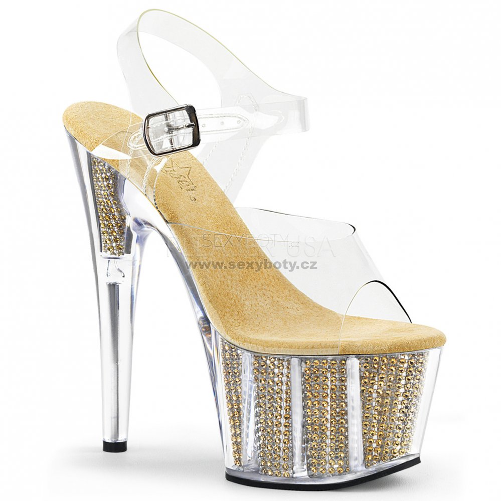 zlaté sandály s kamínky v platformě Adore-708srs-cg - Velikost 37 ... 5a4e9d6cbe0
