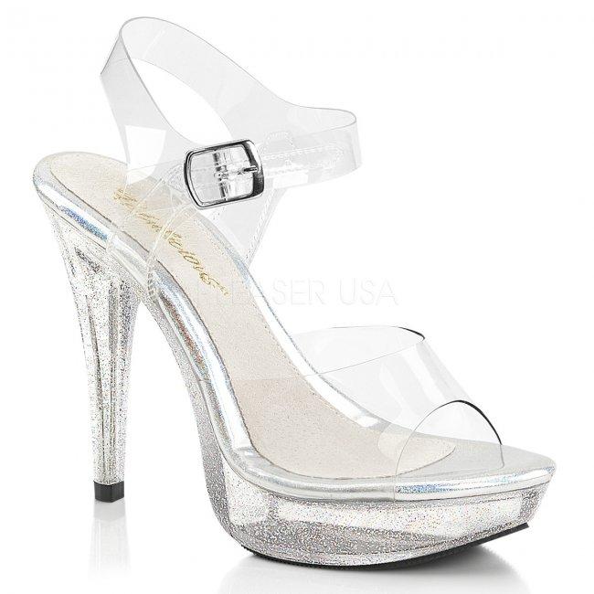 průhledné dámské sandálky s glitry Cocktail-508mg-c - Velikost 43